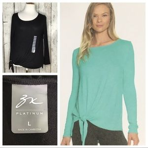 Zeroxposur side knotted pullover top NWT